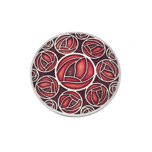 42mm Mackintosh Rose Brooch Red Silver Plated Brand New Gift Packaging